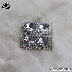 3.50cm Square Shape Rhinestone Shoe Clips A Grade Glass Crystals Clips For Heels