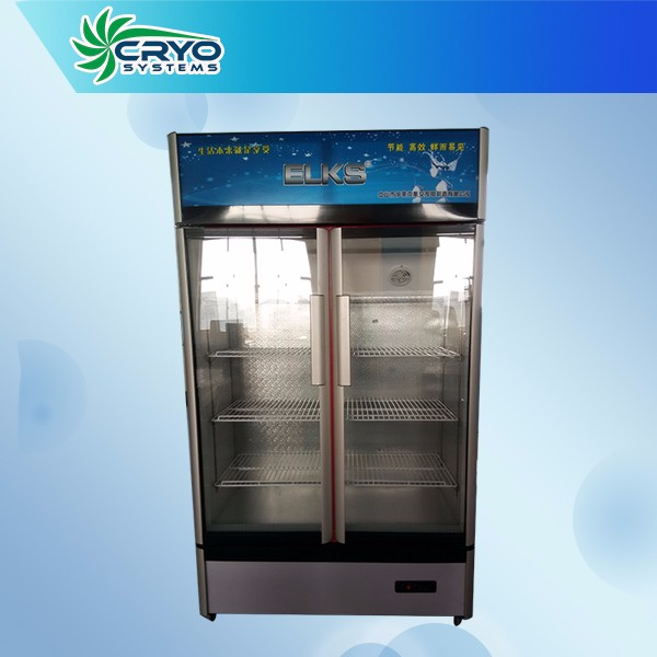 650L commercial upright double glass sliding door cold coke display showcase refrigerator