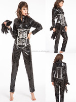 PVC Catwoman Catsuit Jumpsuit Costume Dress UK 8 10 12 14 16 S-XXL