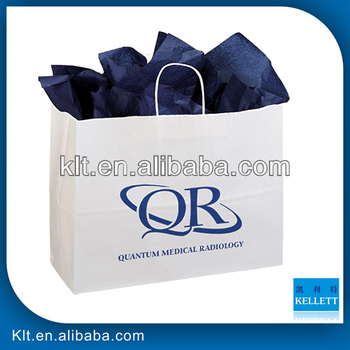 white customized paper shopping bag