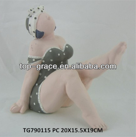 polyresin figurine crafts fat bathing beauty statue
