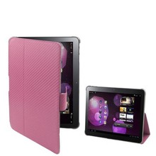 Carbon Skin Style Leather Case with Smart Cover for Samsung Galaxy Tab 10.1 / P7510 / P7500 (Pink)
