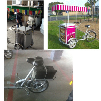2015 new item Moto powered 3-wheel tricycle cart with solar/dc powered deep chest freezer