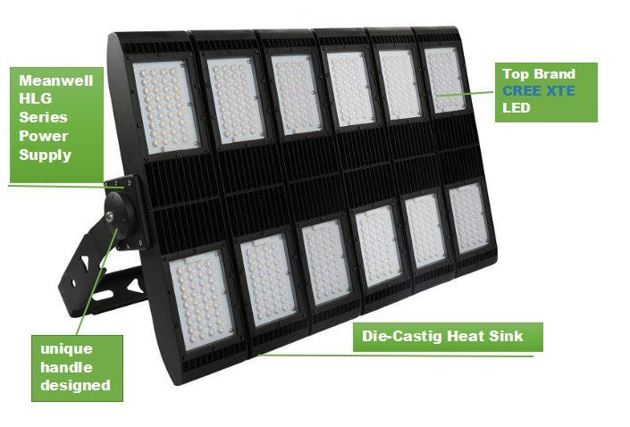 5 years warranty MW driver led stadium flood light 400w 600w 1000w led stadium light
