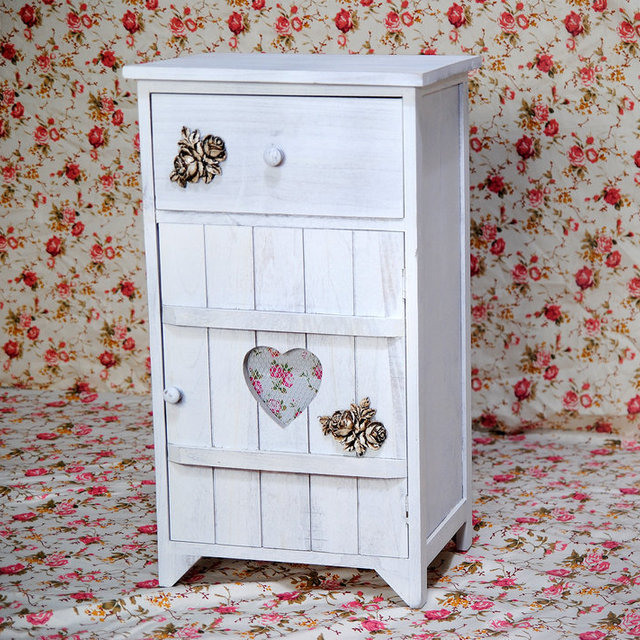 Home Organizer Vintage White French Small Storage Cabinet On Table Top