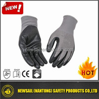 NEWSAIL 13G grey polyester liner with smooth black nitrile coating glvoes/working gloves/nitrile gloves