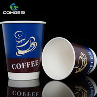 Factory Price Disposable Paper Coffee Store Printed Logo Double Wall Hot coffee to go cups with lids