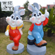Cartoon rabbit statue with animal role with fiberglass resin craft for the gadren