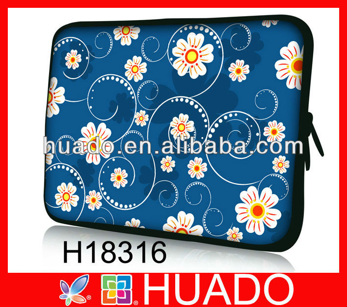blue flower design neoprene laptop sleeve