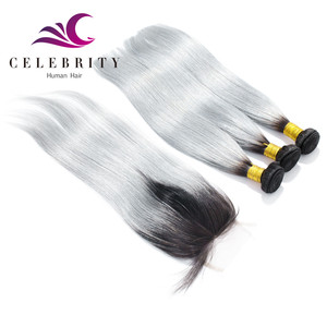 Wholesale Grey Brazilian Human Hair Weaving 1b Grey Ombre Remy Two Tone Hair Extension Grey Hair Top Closure