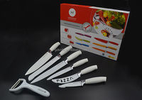 High quality 7pcs Switzerland royalty line non-stick coating color kitchen knife set
