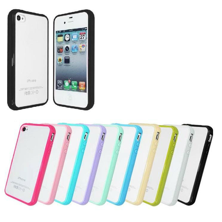 Hybrid Soft TPU Bumper Frame PC Hard Back Case Shell for iPhone 4 4S