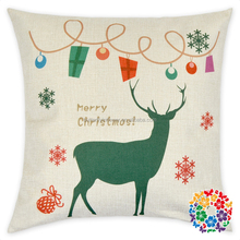 in stock merry christmas deer print washable fancy pillow case