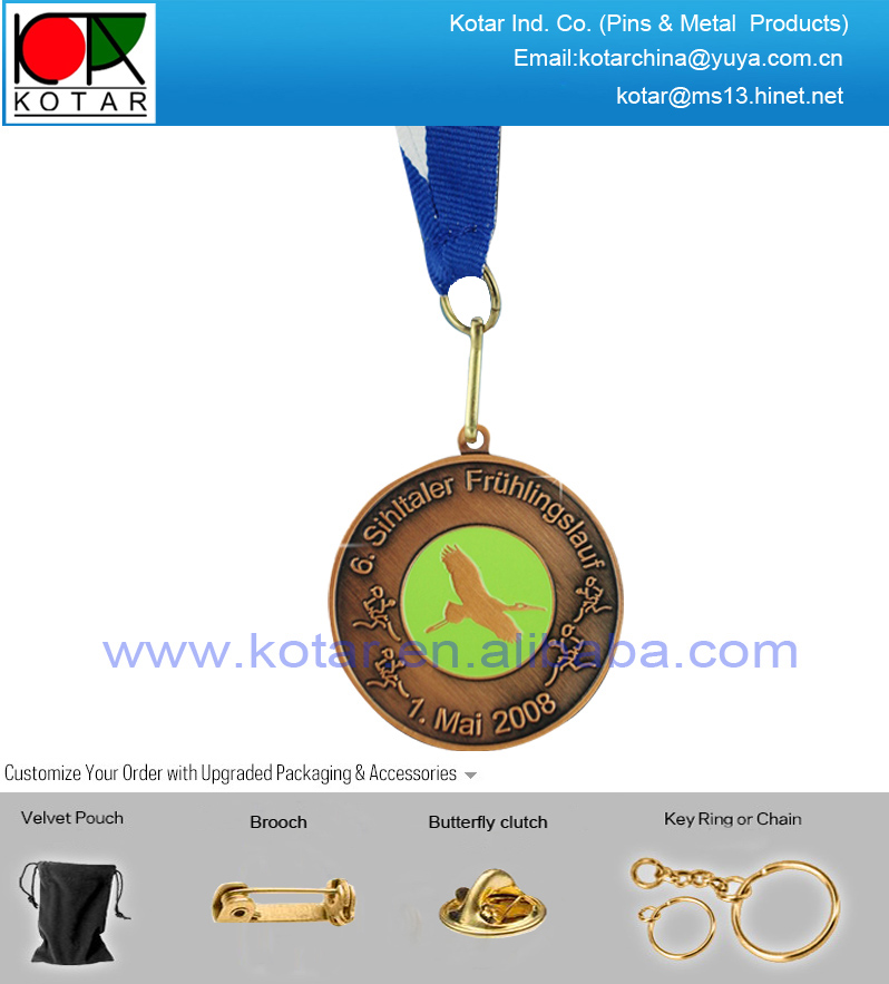 Custom high quality antique copper plating metal medal with soft enamel