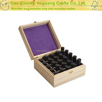pine wooden large essential oil box with velvet inside box