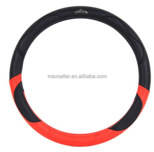 hot selling black and red color PVC+PU cool hand steering wheel cover