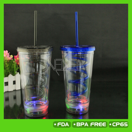 Promotional gift, Acrylic double wall insulated LED light up flashing tumbler with lid and straw, 450ML