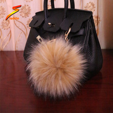 Wholesale faux racoon fur pompom ball keychain with animal fur