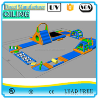 Qi Ling newest design mobile aqua on sea giant inflatable water park games