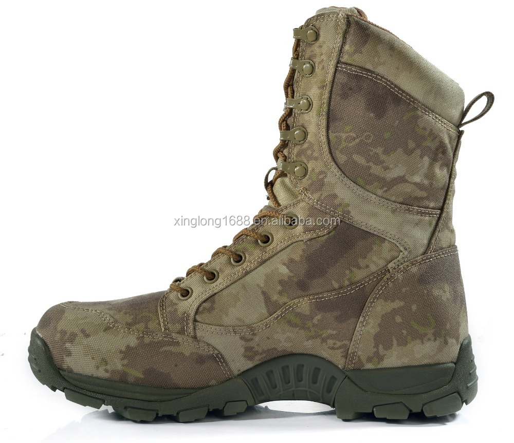 Wholesale factory rubber sole genuine leather camouflage safety combat boot