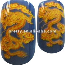 Plastic nail with Tattoo Phoenix design-Blue