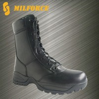 All leather side zipper good quality military police tactical boots