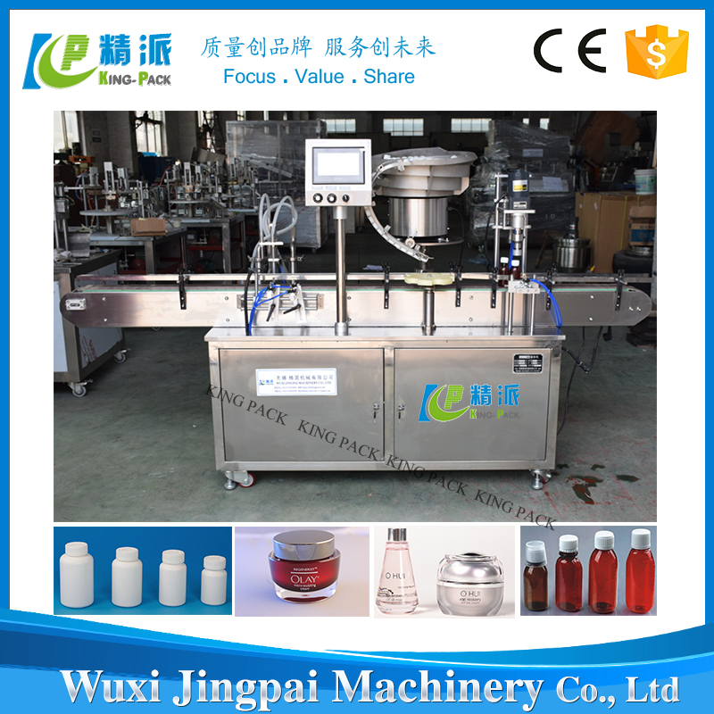 Full automatic filling capping and labeling machine for bottles