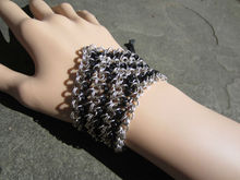 Godbead Chainmaille Bracelet Black Silver Chainmail Link Leather Corset Laced Chain Cuff