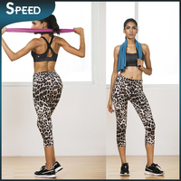 DHL Free shipping Women's Workout Capri Leggings Fitted Stretch Tights 3/4 \pattern