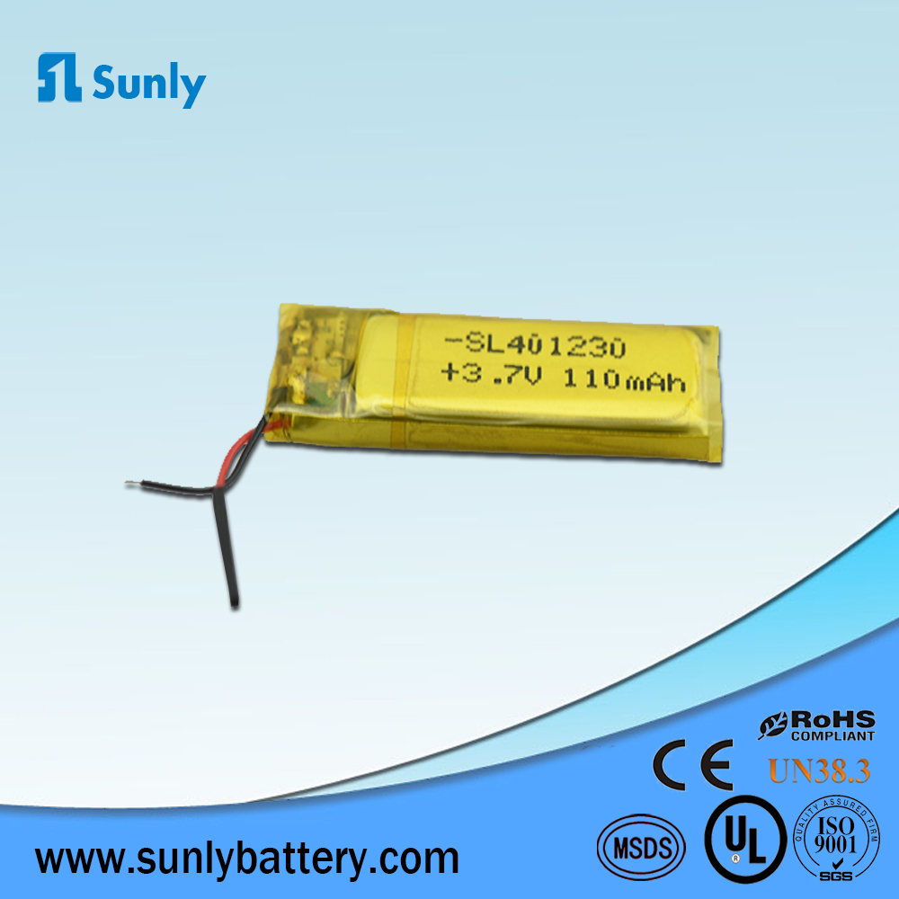 401230 110mAh 3.7v lithium polymer batery,China battery manufacturer