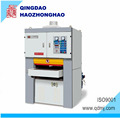 Calibrating two heads wide belt sanding machine