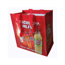 full color printing pp woven shopping bag with wine holder