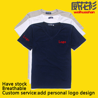 Tshirt Factory direct wholesale Have stock Free size Free colors cheap V-neck Lycra cotton Tshirts