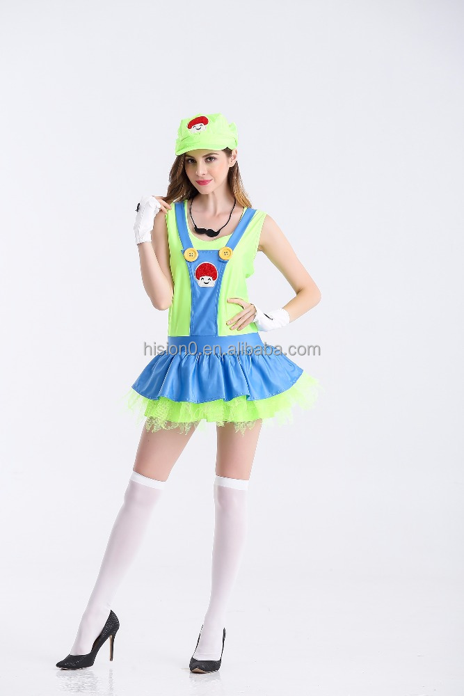 Sexy Halloween Cosplay Super Mario Costume 4pcs Set Green Costume Hot Sale Cheap Sexy Dress Lingerie