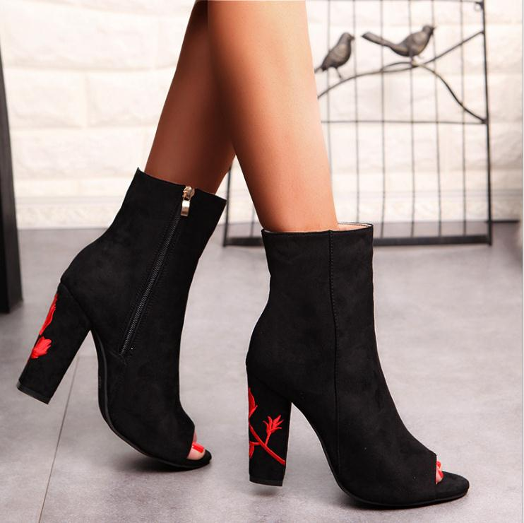 K2955A Women Shoes 2017 Autumn Women Shoes Peep Toe High Heel Embroidery Lady Sexy Boots