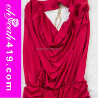 Super fashion long red evening dress party long dress draped chain dress
