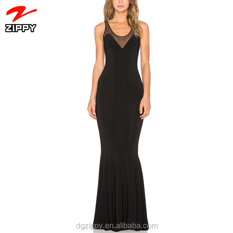 Latest Mesh Raceback Fishtail Maxi Dress