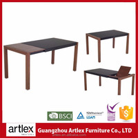 Ultra Latest Designs Modern Tempered Wooden Folding Extendable Dining Table