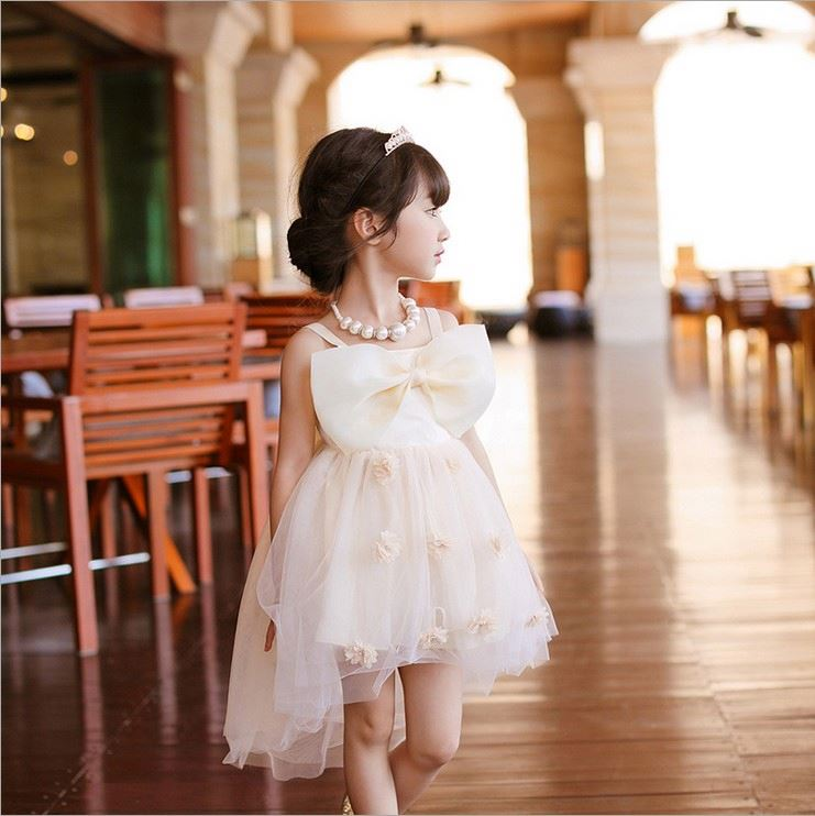 Summer Boutique Girl Clothing Bow Design Tulle Cotton Baby Dress