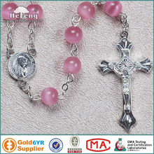 8mm pink cat's eye beads rosaries