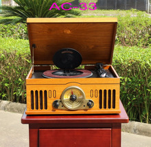 Classical Portable Wooden FM Radio CD Turntable Record Player