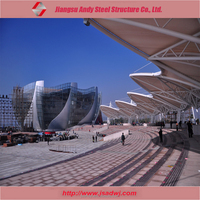 Outdoor Square Tensile Membrane Structure Canopy with Large Span Steel Truss