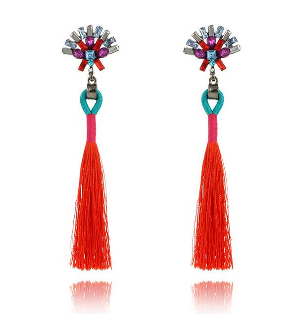 2017 New Fashion Statement Jewelry Tassel Long Earring For Women 2 Colors Wedding Dangle Drop Earrings Wholesale