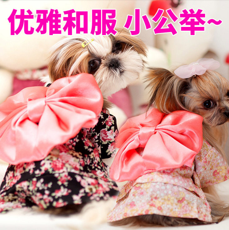 black and red Japanese kimono style pet dog apparels small flowers pet dog skirt with bow