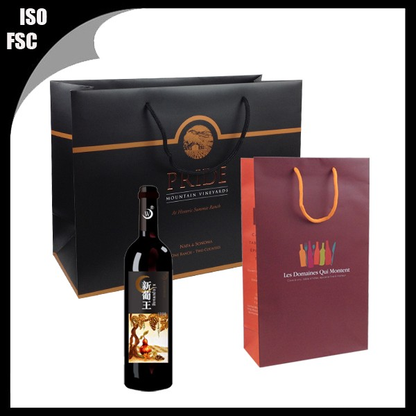 single bottle wine paper bag with logo print