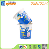 Brand new yogurt pots with silver transfered laser metallic foil coating