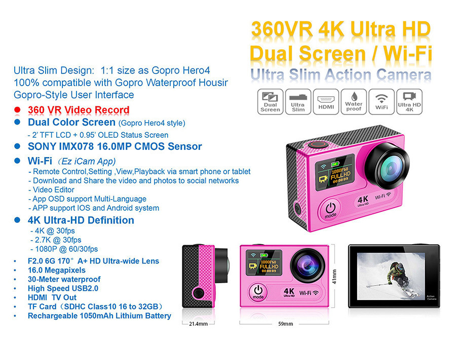"VR360 Action Camera Dual Screen 2.0"" LCD main screen 320*240 + 0.95"" OLED 16MP camera 4K 30fps WiFi 30M Diving sport camera"