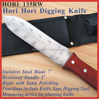"(HORI-135RW) 12"" Multi-Use Garden Tool Hori Hori Soil Weeding Digging Knife"