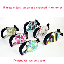 Retractable dog leash 5 meters nylon rope dog leash with plastic casing