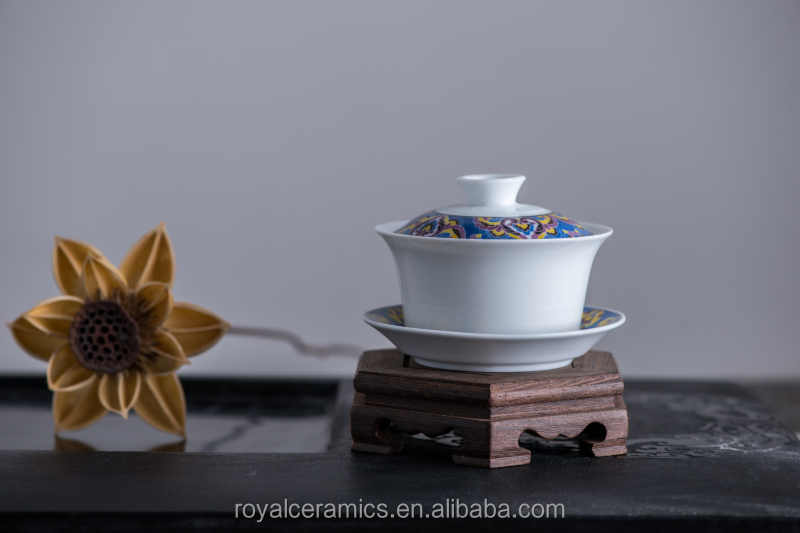 oriental style handpainting fine porcelain tea cup with lid